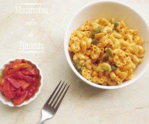 Receta de Pasta, Macarrones con Crema de Pimiento