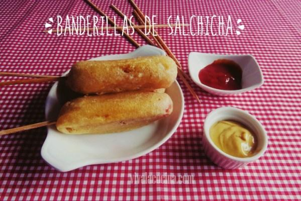 receta de banderillas de salchicha con agua mineral
