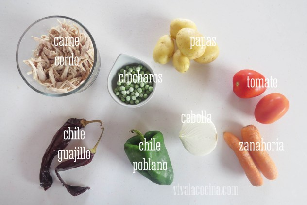 Ingredientes para Pierna de Cerdo con Chile Guajillo