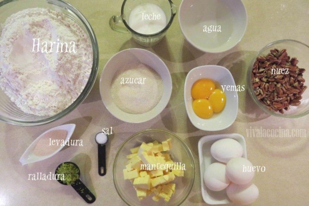 Ingredientes para el Pan de muerto con nueces y pasas