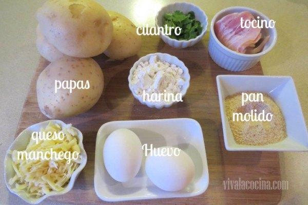 Ingredientes de Croquetas de Papa (patata) y Tocino