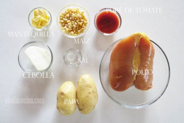 Ingredientes para el Pollo con Papas