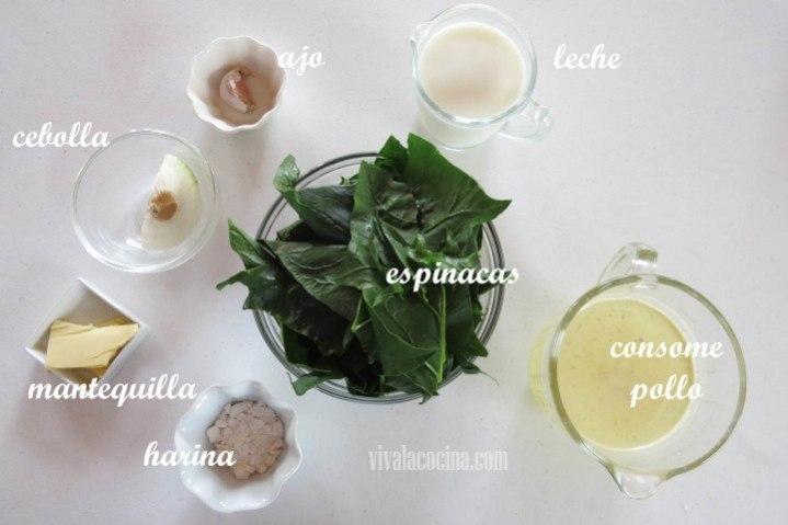 Ingredientes de la Sopa de Espinacas