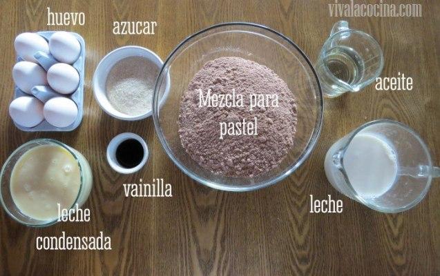Ingredientes para preparar la receta de Chocoflan o Pastel Imposible