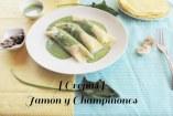 Crepas de Jamón, Champiñones y salsa de Espinacas