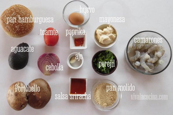 Ingredientes para la receta de Hamburguesas de Camarón