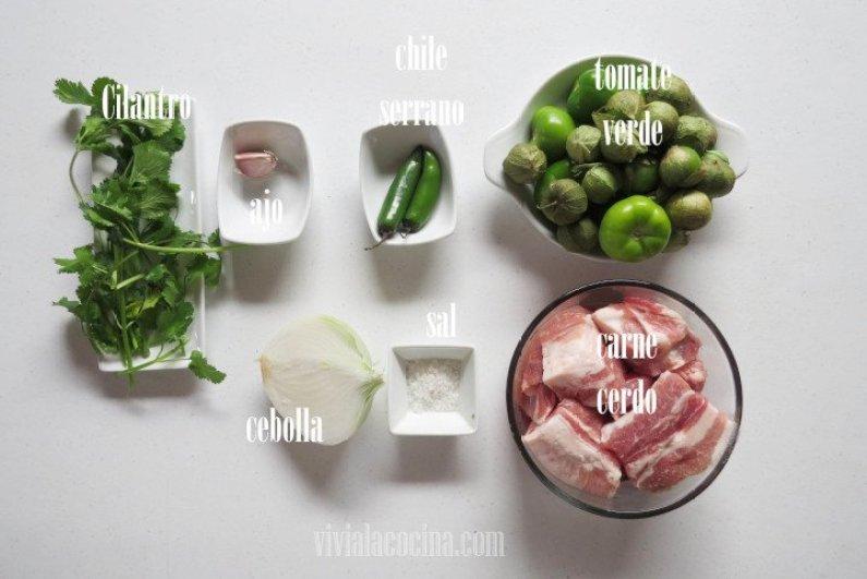 Ingredientes para preparar la receta de Cerdo en salsa verde