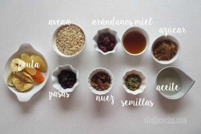 Ingredientes para la receta de Muesli casero