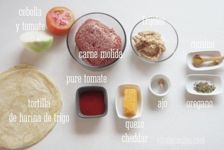 Ingredientes para preparar la receta de Burritos de Carne Molida y Queso Cheddar