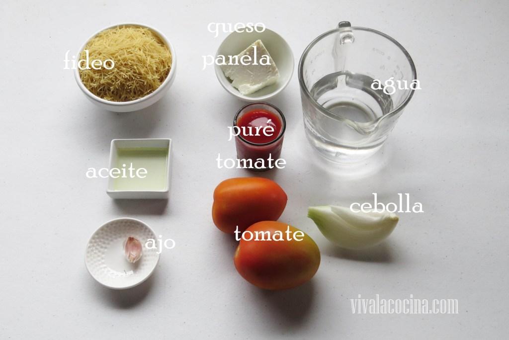 Ingredientes para preparar Sopa de Fideo Seco