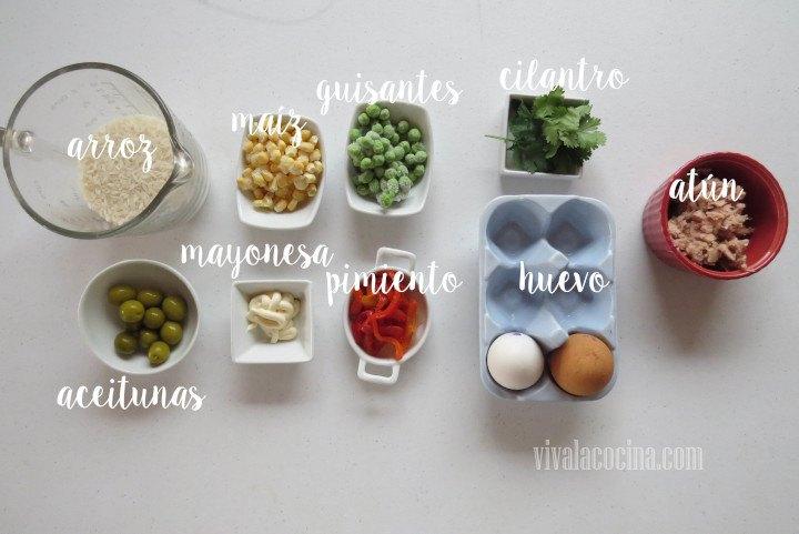 Ingredientes para preparar Ensalada de Arroz con Atún y Aceitunas
