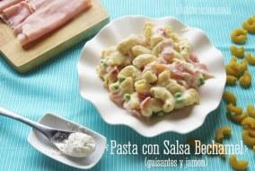 Pasta en Salsa Bechamel con Guisantes y Jamón | Receta deliciosa