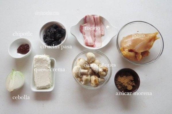 Ingredientes para preparar la receta de Pollo en Salsa de Ciruela Pasa