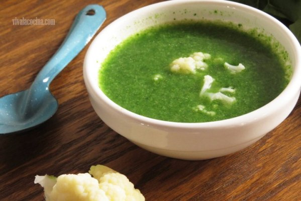 Receta de Sopa de coliflor y espinacas