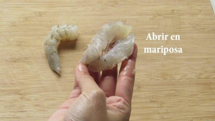 Abrir en Mariposa los camarones