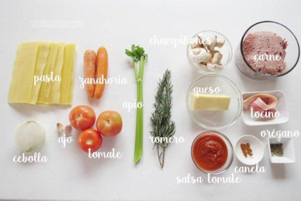 Ingredientes para hacer Lasaña boloñesa