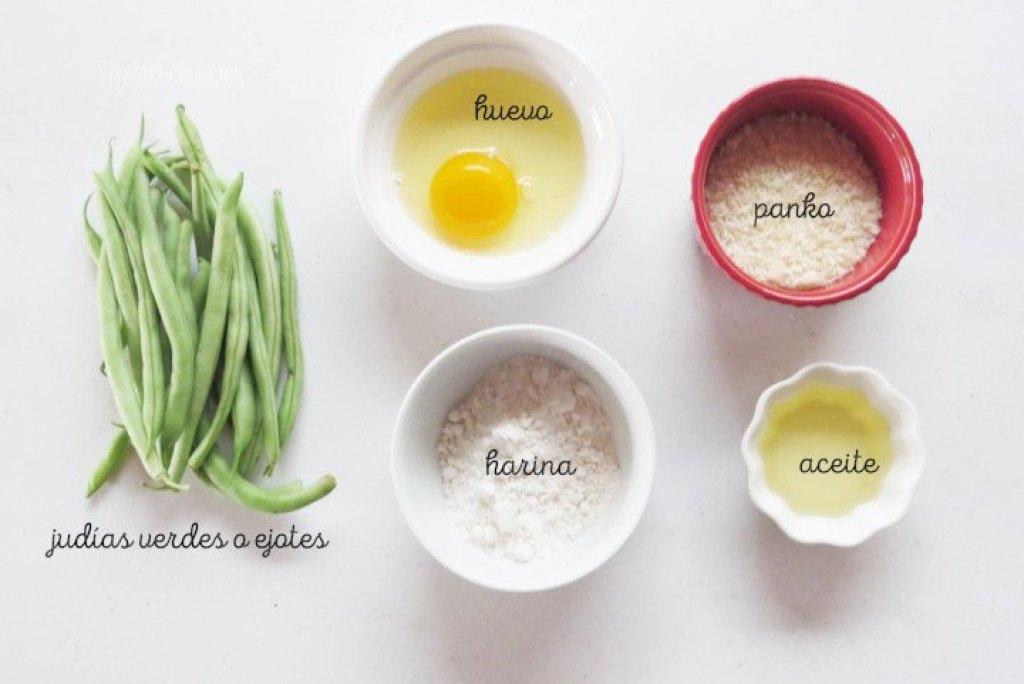 Ingredientes para preparar Ejotes o Judías Verdes Empanizadas al Horno