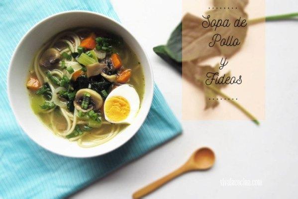 Sopa de pollo casera con Fideos y Verduras