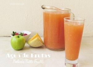 Receta de Agua de Frutas o Jugo tutti frutti. Bebida casera baja en calorías