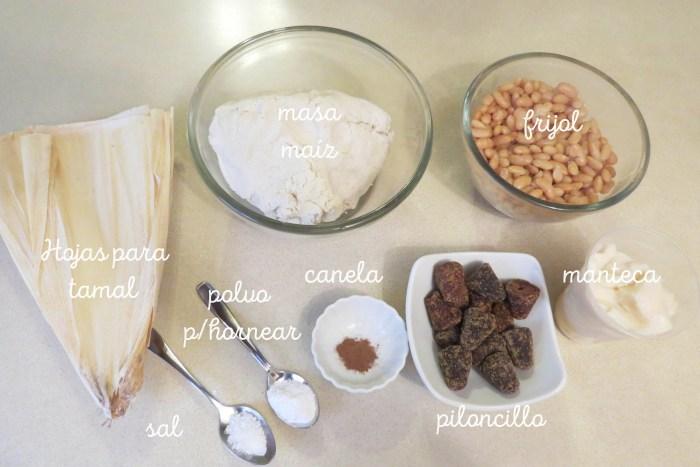 Ingredientes para preparar la receta de tamales de frijol dulce