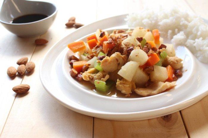 receta de pollo almendrado al estilo chino