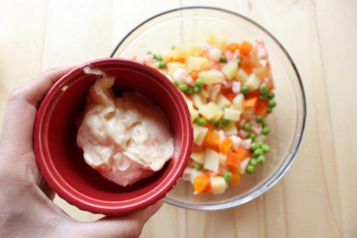 patatas, zanahorias y camarones para chiles rellenos