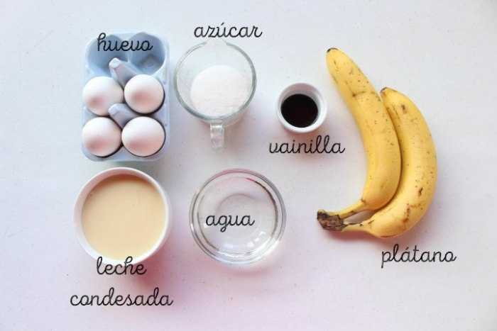 ingredientes flan de plátano