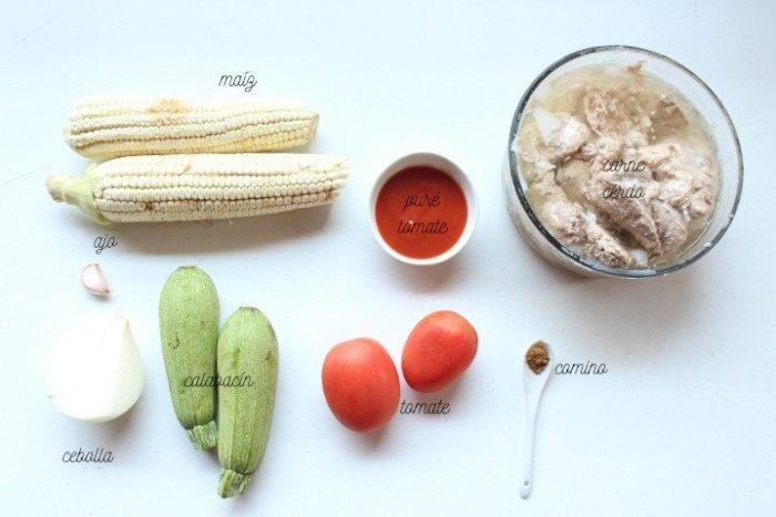 ingredientes para el guiso de costillas de cerdo