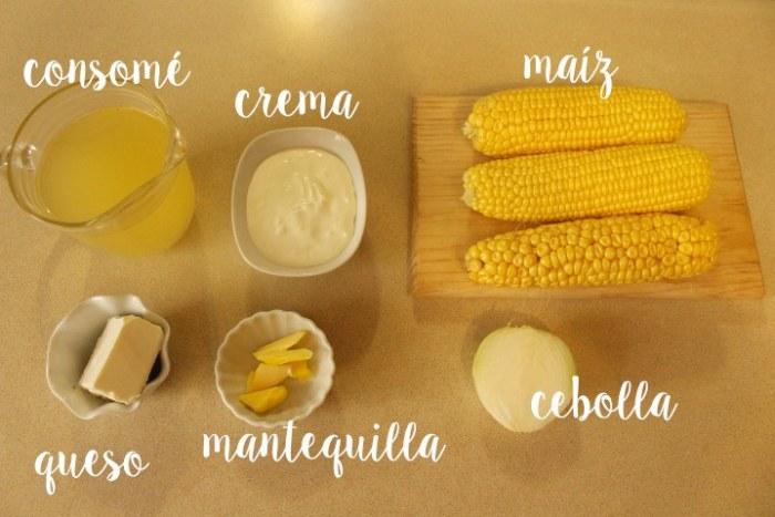 ingredientes crema de maíz o elote