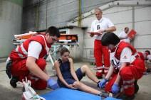 Team from Oberpullendorf taking care of a broken leg. Güssing, 2013