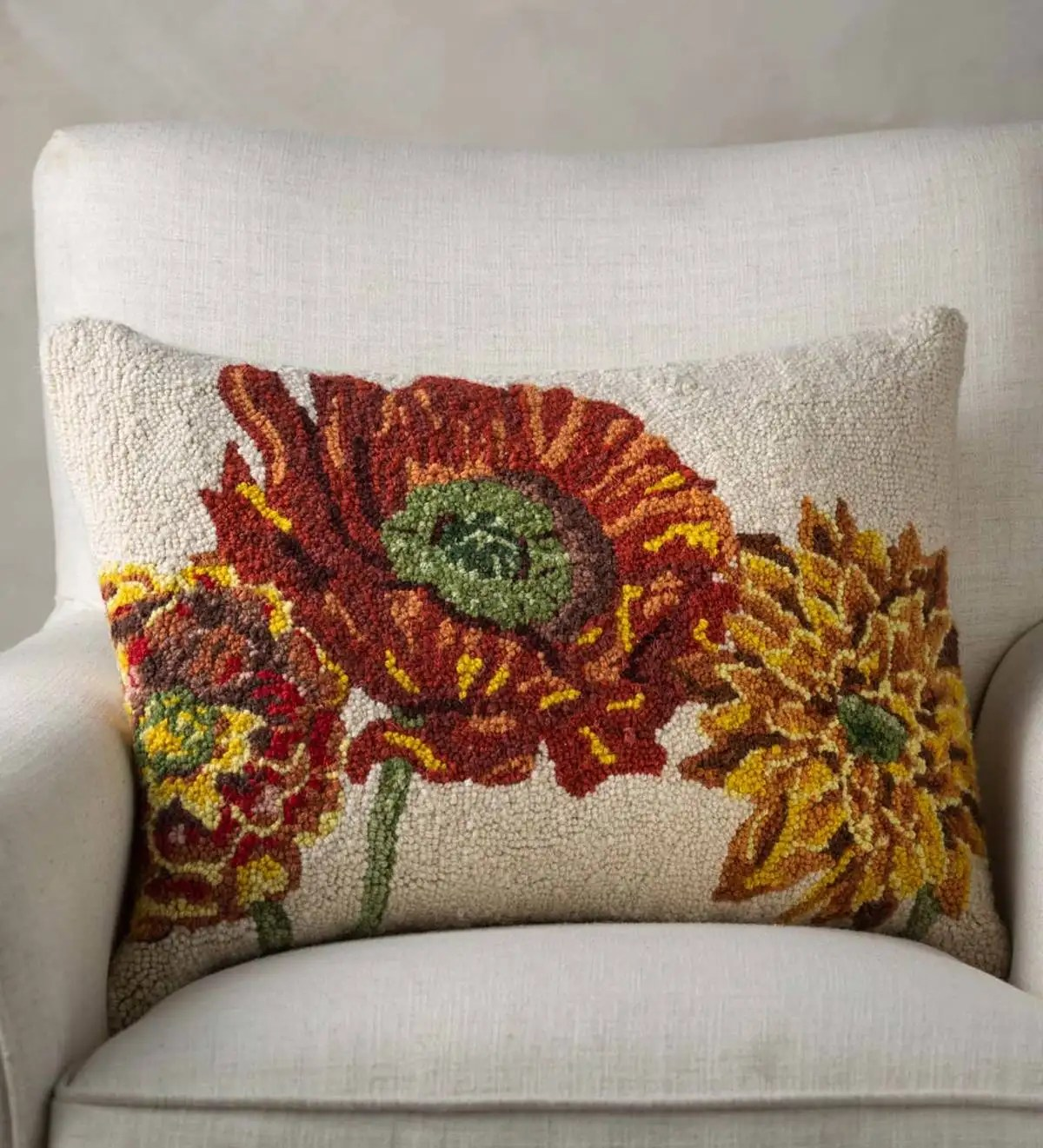 3 fall flowers hand hooked wool