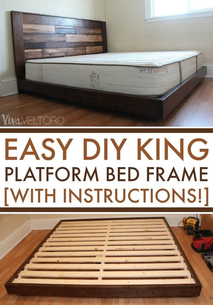 Easy diy platform bed frame for a king with instructions for Simple diy platform bed