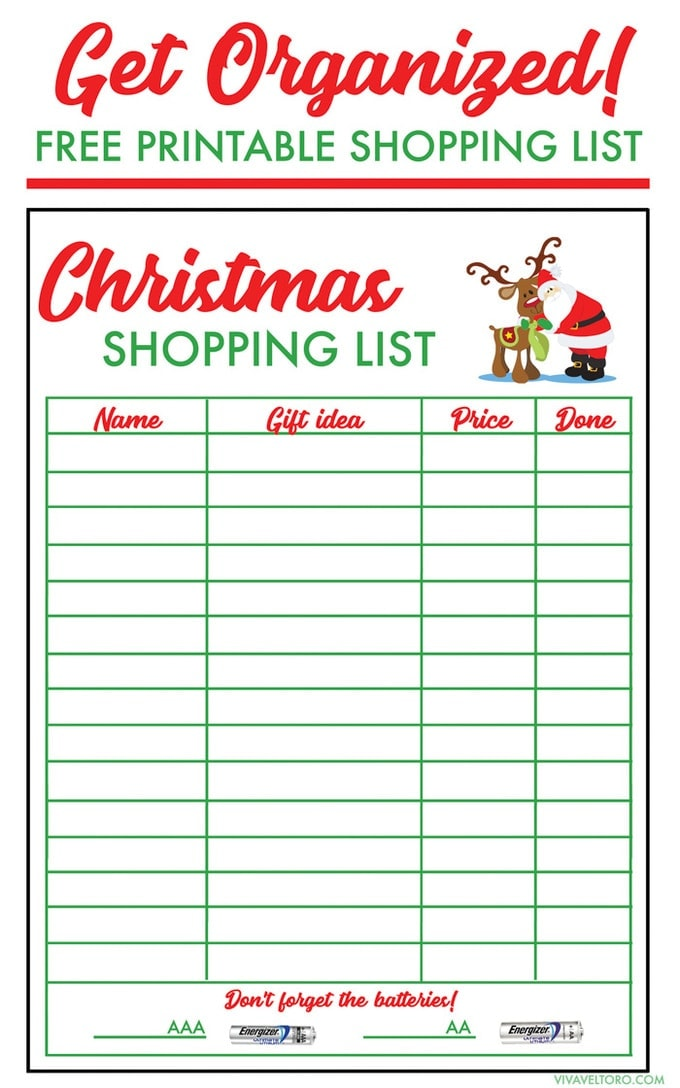 Christmas Shopping List Template  Free Shopping List Template