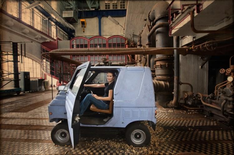 Self portrait in tiny van at ECVB Powerplant, Belgium