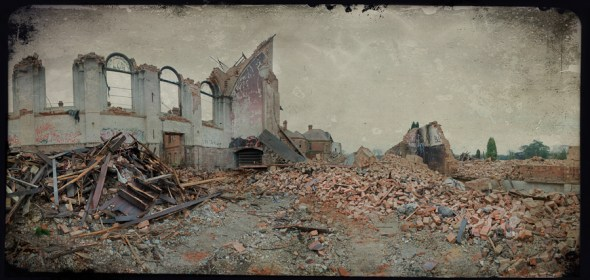 The demolished hall, derelict Hellingly Asylum, West Sussex