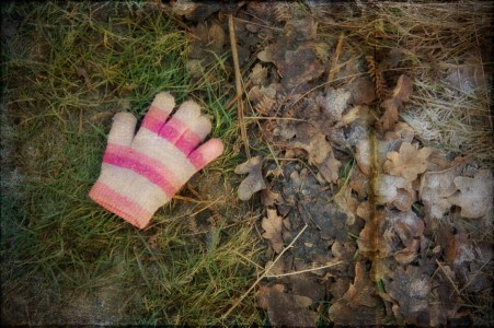 Lost pink glove on grass and frosted oak leaves, Richmond Park, Surrey
