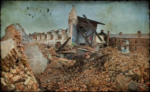 The demolished hall, derelict Hellingly Asylum, West Sussex, UK
