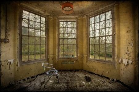 Commode chair in bay window, derelict West Park Asylum, Epsom, Surrey