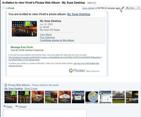 Picasa Preview in mail