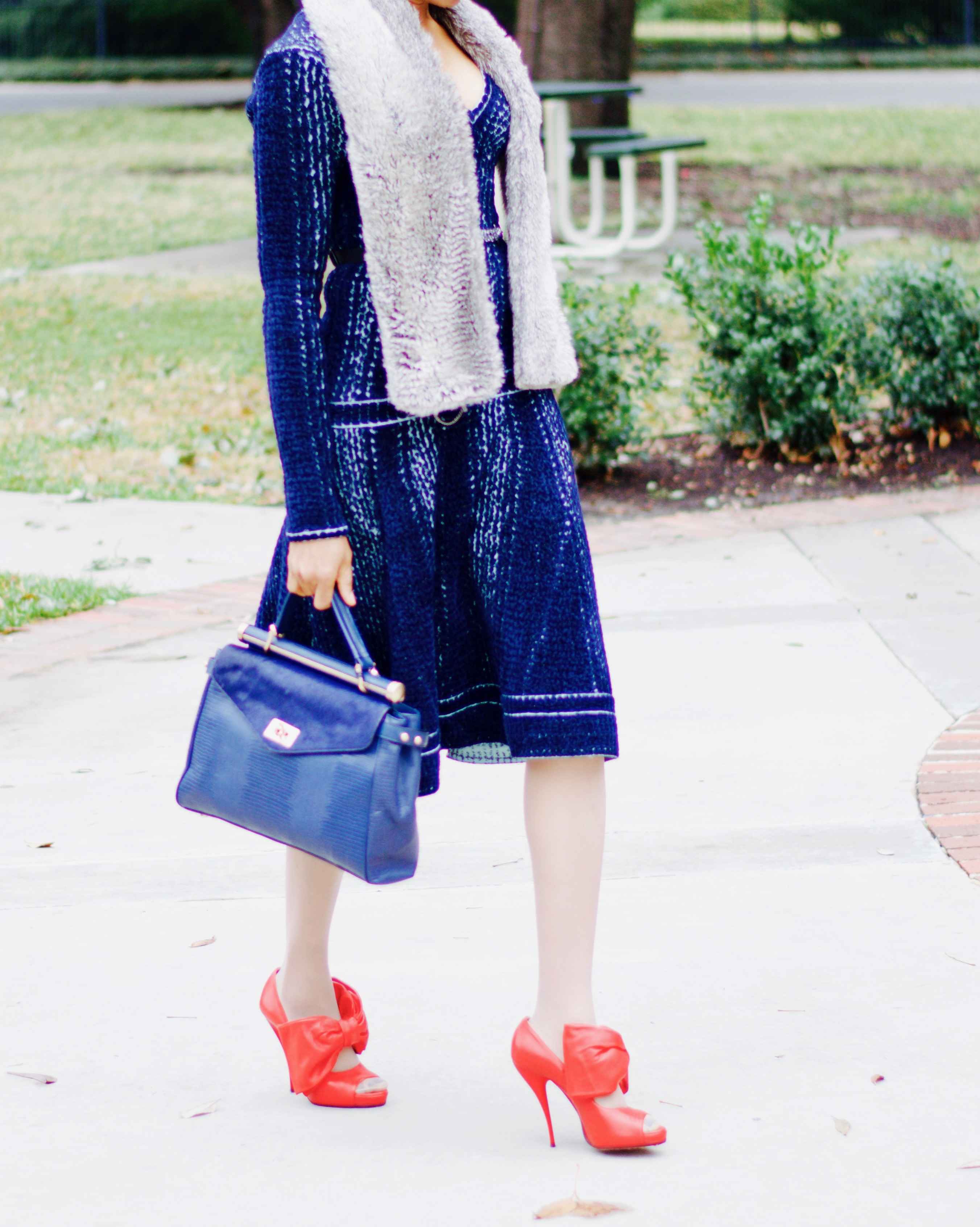 Velvet, Faux fur stole, and Red Bow heels