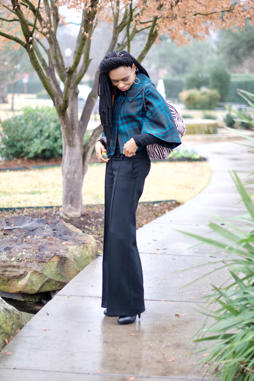 Wide leg Pants + Plaid cape coat