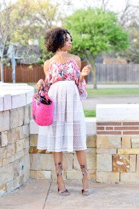 Floral cold shoulder top + midi skirt + block heels Posted by Vivellefashion