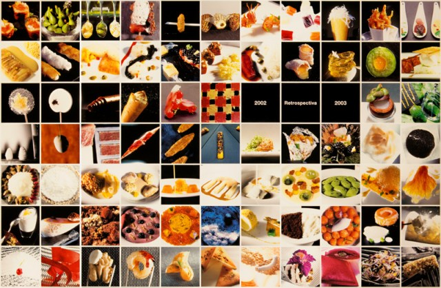 Photographs of dishes arranged chronologically