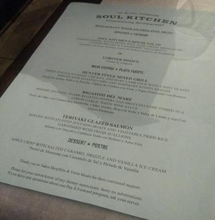 Cardápio restaurante Soul Kitchen Bon Jovi