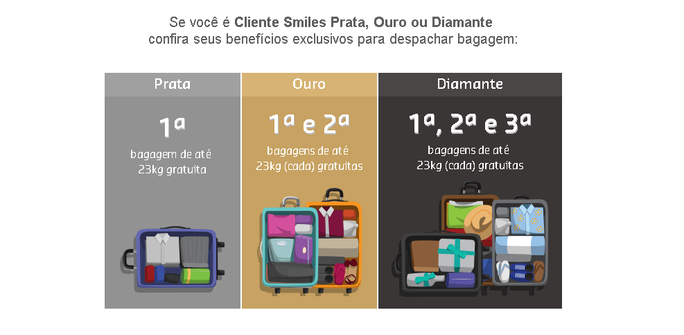 Categorias Smiles franquias bagagem