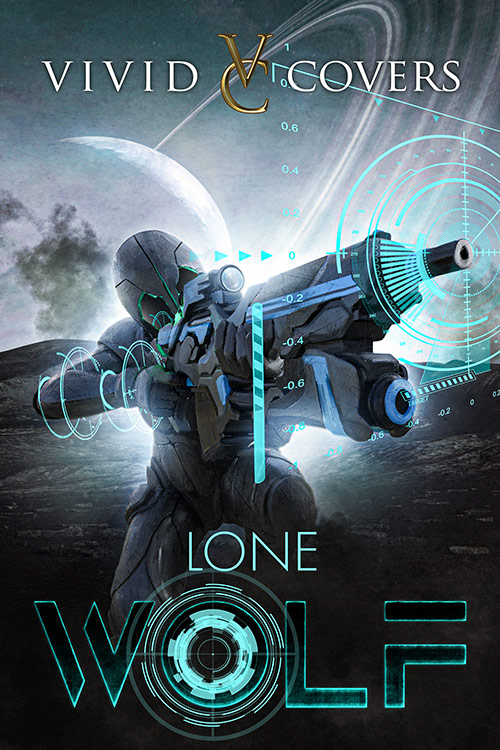 A sci-fi marine premade cover with planet background, gun and holographic HUD display