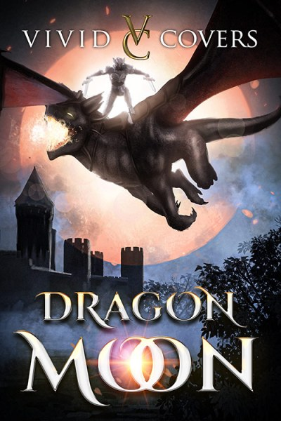 Fantasy premade cover with dragon and dragon rider against a red moon