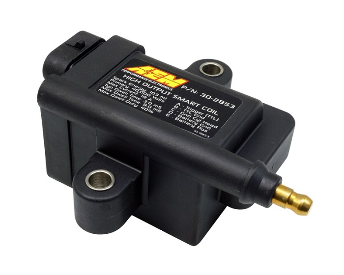 """Auto enthusiasts who have forced induction engines, high RPM engines or run nitrous oxide are aware of the compromises that come with using inductive coils instead of converting to a Capacitive Discharge Ignition system (CDI). While inductive coils deliver a long spark duration with simplicity, they lack the energy to adequately ignite the mixture in the combustion chamber of a highly modified performance vehicle. Conversely, CDIs deliver an intense burst of spark energy, but with practically no spark duration, which makes having the proper air/fuel mixture in the combustion chamber paramount for best performance. This compromise ends with AEM's High-Output IGBT """"Smart"""" Inductive Coils; The first inductive coils that deliver CDI-like spark energy and voltage, and the long spark duration necessary for forced induction- and nitrous-equipped vehicles.  AEM's High-Output, Insulated Gate Bipolar Transistor (IGBT) """"Smart"""" Inductive Coils are designed for use on applications that do not have an external igniter.  WHAT IT DOES  AEM's High-Output IGBT """"Smart"""" Inductive Coils each deliver up to 103mJ of spark energy and a minimum of 40,000 Volts-as much as most CDI systems but without the need for a CDI module! These coils provide very long spark duration at full energy, unlike CDI systems and multiple spark systems which fire off small spark events prior to and after its CDI burst to mimic longer spark duration. The full energy delivery and long duration of AEM's High-Output IGBT """"Smart"""" Inductive Coils eliminate the need to compromise energy or duration with your ignition system, and will increase performance in high-boost or high compression engines.  WHY YOU WANT ONE  AEM's High-Output IGBT """"Smart"""" Inductive Coils deliver CDI-like spark energy with the long duration of an inductive coil. They install easily in place of your exiting coils and do not require a CDI module. AEM's High-Output IGBT """"Smart"""" Inductive Coils have a shock and weatherproof design that allows them to"""