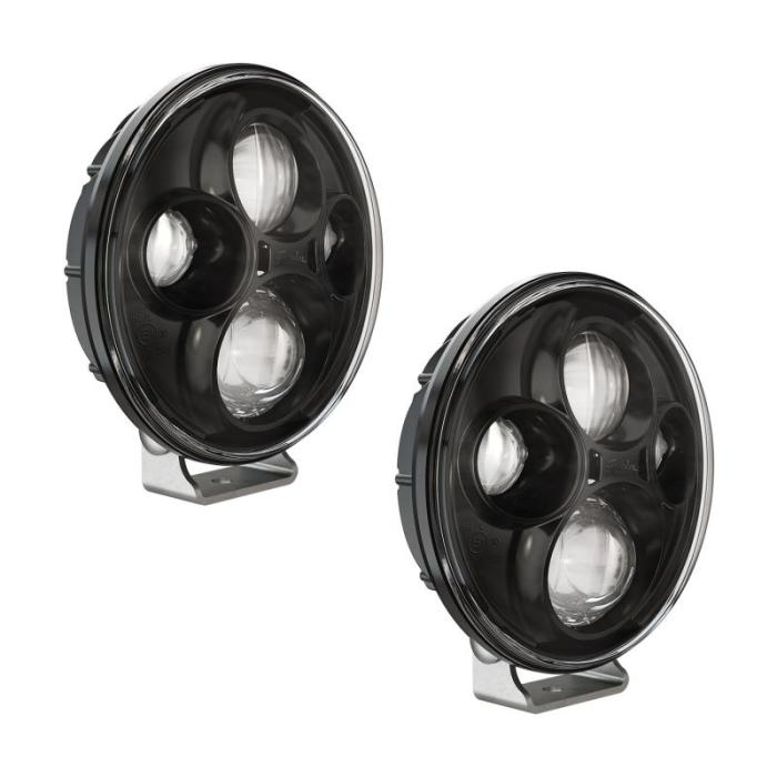 J.W. Speaker Model TS4000 LED Auxiliary Lights are 7'' round auxiliary lights designed for commercial truck & bus applications. Thin, lightweight design with high-output LEDs offers a convenient bright, white light with superior visibility. Impact resistant polycarbonate lens and heavy-duty, die-cast aluminum housing design deliver added durability, able to withstand shock and vibration for heavy-duty applications. J.W. Speaker specializes in the design and manufacture of vehicle lighting systems, proudly designed, manufactured & assembled in the U.S.A.Model TS4000 Auxillary Lamp 12-24V ECE Compliant LED High Beam with Black Inner Bezel & Pedestal Mount Kit - 2 LightsFeatures7'' round LED auxiliary lamps; High beam pattern; ECE-compliant; High-output LEDs; Die-cast aluminum housing; Black inner bezel; Pedestal Mount; Kit includes 2 lampsNotes:Universal Fitment: These products should work with your vehicle as they are universal for fitment.  We do recommend the customer researches and does due diligence regarding application.  This should help confirm that this will work for your vehicle.