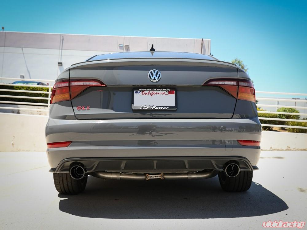 afe mach force xp stainless catback exhaust system w black tips volkswagen jetta gli l4 2 0l 2019 2020